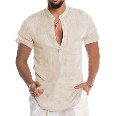 Babioboa Camisa Henley masculina de algodão e linho, manga comprida, camiseta básica de verão, gola de banda, yoga, Manga curta bege, M