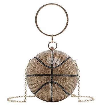 Imagem de EVERY- Bolsa feminina de basquete futebol americano, bolsa de mão para noite, festa de casamento, formatura, Dourado, 1