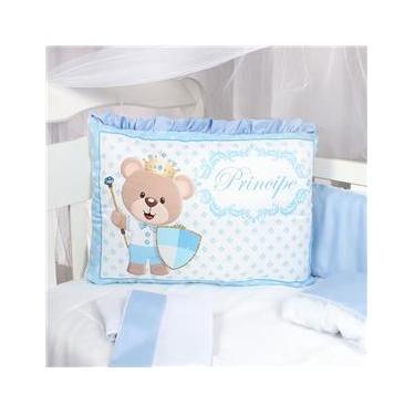 Kit Protetor Berço Americano Azul Menino Príncipe Urso 9 Peças Azul Bebê