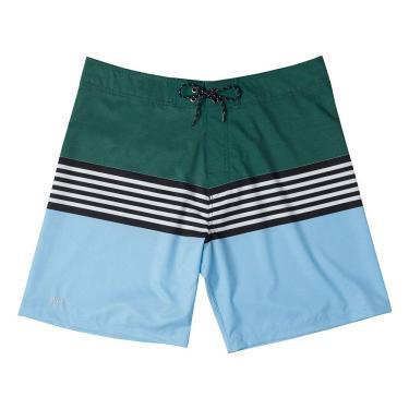 Shorts De Praia Boardshort Estampado Listras, Mash, 38, Verde Escuro, Masculino