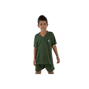 Pijama de Malha Infantil Menino Curto Verde Escuro