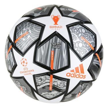 Bola Futebol Campo Adidas UCL Finale League 21 GK3468, Cor: Cinza/Branco, Tamanho: 5