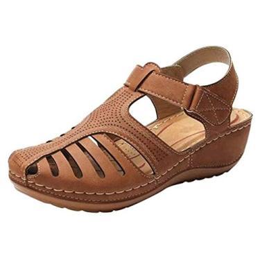 Sandálias de Verão,Baugger Verão Retro Sandálias Femininas Buracos Sapatos Cabeça Redonda Cunha Salto Antiderrapante Sandálias Confortáveis (Marrom 38)