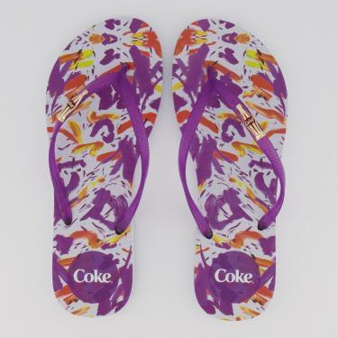 Chinelo Coca Cola Summer Feminino Branco e Roxo - 33-34