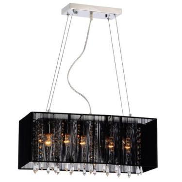 Imagem de Pendente Rammer 70Cm Retangular E-27 5 Lamp. Max 60W Preto - Home Line