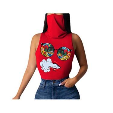 Camisetas femininas sem mangas Comaba estampa floral gola rolê fashion fitness, Vermelho, X-Large