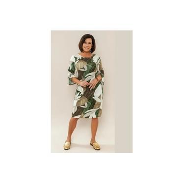 Vestido Curto Juanna Visco Strech Estampado Verde