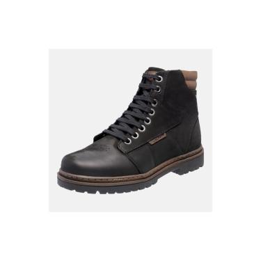 Bota Coturno Em Couro Mega Boots 6028 Preto-chocolate  masculino