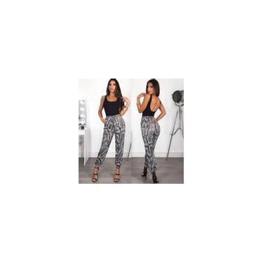 Moda Feminina Calça Casual Alta Elastic Cintura Cobra Imprimir Cintura Elástica Solta Elegante Calças Cinza