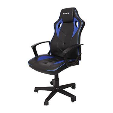 Cadeira Gamer Barata Azul Eaglex S1 120kg Com Ajuste de Altura e Modo Balanço
