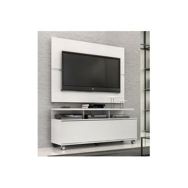 """Rack Com Painel Home Buzios 1,20m Para Tv 48"""" Branco"""