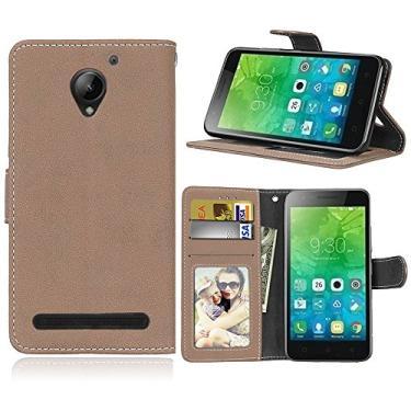 Capa para Lenovo Vibe C2 k10a40 proteção de couro PU com 3 compartimentos para cartões capa flip (Bege)