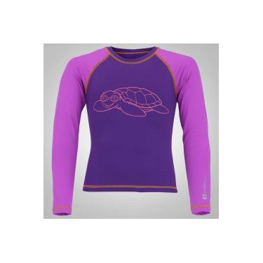 Camiseta Manga Longa com Proteção Solar UV Oxer Tartaruga - Infantil -  Roxo Roxo Cla db27841f82