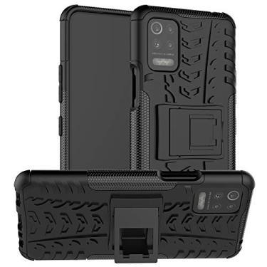 N\B Capa para LG K52, capa híbrida para LG K52, proteção de camada dupla à prova de choque, capa híbrida resistente com suporte para LG K52