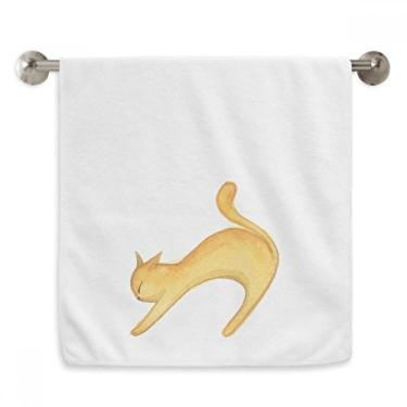 Imagem de DIYthinker Toalha de mão com pintura de gato laranja Miaoji toalha de mão toalha de rosto de algodão macio