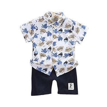 Conjunto de 2 peças de roupas infantis para meninos com estampa de folhas + shorts para bebês e verão