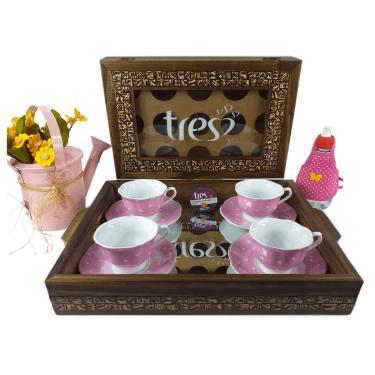 Caixa Porta Cápsulas Três Corações + Bandeja Espelhada Café