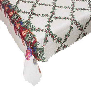 Imagem de giveyoulucky 150 x 180 cm Toalha de mesa de Natal com estampa temática de Natal retangular requintada capa de mesa de poliéster decoração de festa I