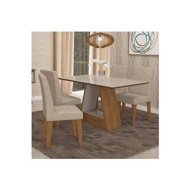 e3cfd02f22 Conjunto Sala de Jantar Mesa Alana Retângular 4 Cadeiras Milena Cimol  Savana Branco Off White