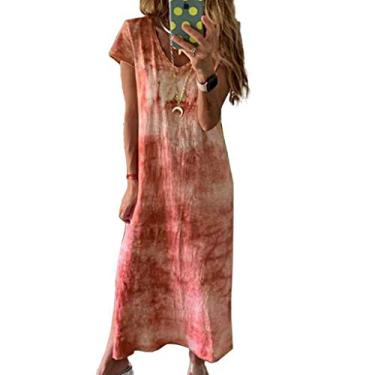 Vestido longo casual de manga curta com decote em V e estampa tie dye, Laranja, L