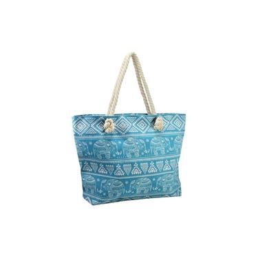 Bolsa de praia lona com alça em corda Turquesa Jacki Design
