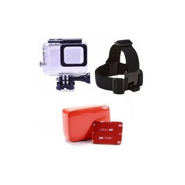 Kit GoPro Hero 5 6 7 Black Caixa Estanque Para Mergulho Boia Esponja Traseira Flutuante Com Adesivo 3M Suporte De Cabeça