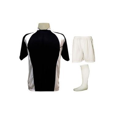 Imagem de Uniforme Esportivo Completo modelo Suécia 14+1 (14 camisas Preto/Branco + 14 calções Madrid Branco + 14 pares de meiões Brancos + 1 conjunto de goleiro) +