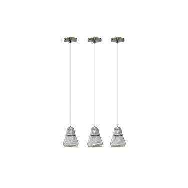 Kit 3 Lustre Pendente Luminária Urban de Metal Cromado 1 Lâmpada E27 Ø12cm - Chandelie