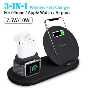Carregador Wireless 3 Em 1 Qi Indução 10W/7W - Apple Watch / Airpod / Iphone X / Xr 6,1'