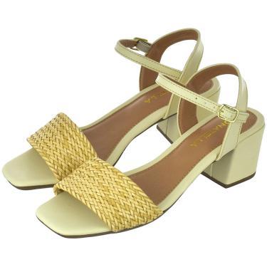 Imagem de Sandália Feminina Tamanco Salto Alto Bloco Donatella Shoes tIra trançado Amêndoa  feminino