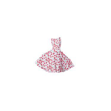 Vintage 50s Hepburn estilo de impressão cereja vestido de noite L