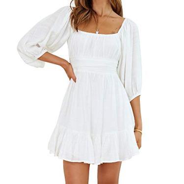 Vestido feminino Exlura com manga lanterna, amarrado nas costas, babados, ombros de fora, evasê, vintage, mini vestido, Branco, S