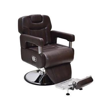 Cadeira Poltrona Hidráulica Barbeiro Arizona Reclinável Com Apoio De Pernas  - Cor: Marrom Croco