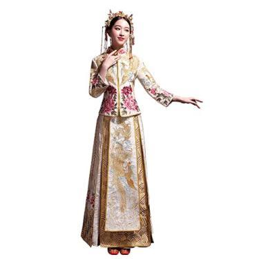 Imagem de HangErFeng Vestido chinês de noiva bordado de pavão Cheongsam clássico borla, Dourado, XG