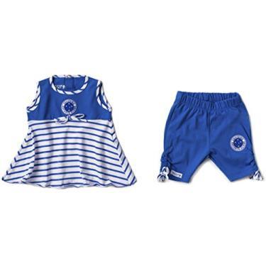 Conjunto Bata e Calça Cruzeiro, Rêve D'or Sport, Meninas, Branco/Azul, 2