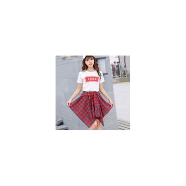 Saia irregular de meio comprimento feminino xadrez de cintura alta vestido casual saia feminina