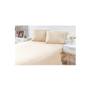 Jogo de lençol casal queen 03 peças Decora - microfibra 170 fios - jogo de cama queen com 2 fronhas na cor avela