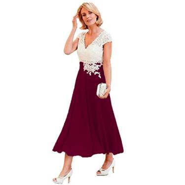 Vestidos de mãe da noiva com decote em V YMSHA para mulheres, comprimento até o chá, renda marfim, chiffon, vestido formal 2020 MM003, Burgundy, 6