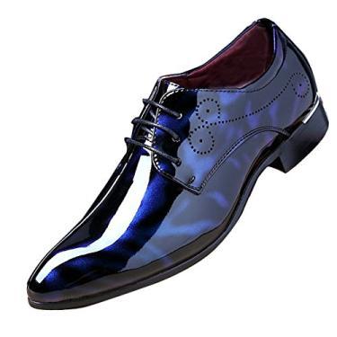 Sapato masculino fashion para negócios bico fino couro envernizado com cadarço Oxford preto marrom vermelho cinza, Azul, 9.5