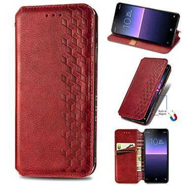 XYX Capa carteira para LG Stylo 7 5G, [Diamante em relevo][Fecho magnético] Capa para celular de couro PU premium compatível com LG Stylo 7 5G, vermelha