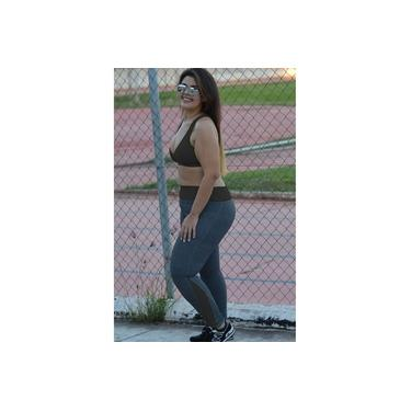 Legging fitness com recortes plus size-Cinza/Preto