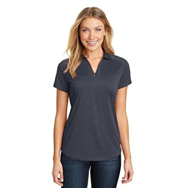 Camisa polo feminina Port Authority Digi Heather Performance, Dark Grey, 3XL