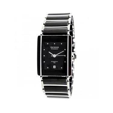 Relógio Feminino Technos Ceramic 1N12ACPAI 1P 25mm Aço Prata Cerâmica Preta 2824ff3bcd