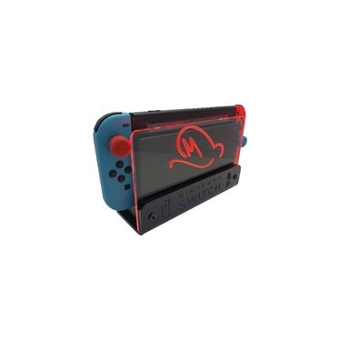 Suporte Bancada/Parede Nintendo Switch Iluminado - Mario Odyssey - Base Preta LED Vermelho