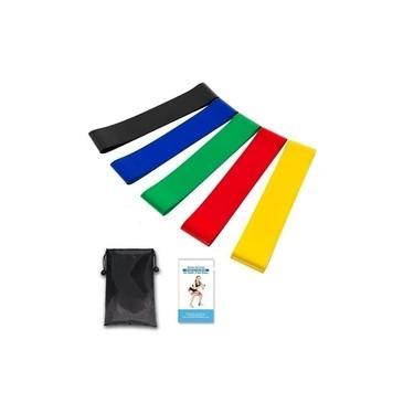 Kit 5 Faixas Extensor Elásticas Thera Band Com 5 Níveis Fisioterapia Elastico Treino Academia Fitness Mini band Musculação