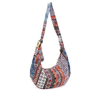 Bolsa feminina estilo tailandês hippie Hobo Soulder, bolsa mensageiro transversal com estampa floral