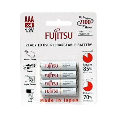 4 Pilhas AAA Palito Recarregáveis 2100x da Fujitsu Standard (= Eneloop) com 800 mAh