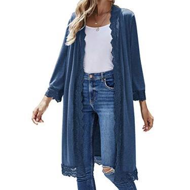 Cardigã feminino casual, manga 3/4, leve, de renda, aberto na frente, suéter longo, Azul, Small