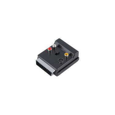 Switchable Scart macho para Scart Feminino S-Video 3 rca Áudio Conversor Adaptador Omygod