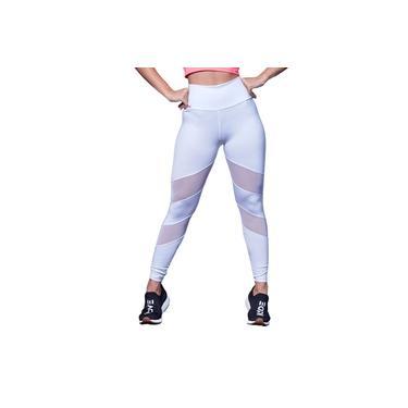 Imagem de Calça Legging Feminina Poliéster Tule Lisa Branco